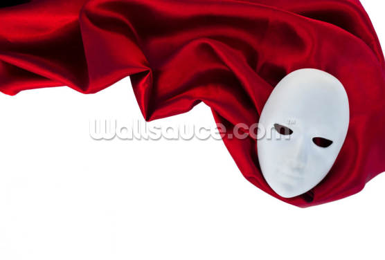 White Mask on Red Silk Fabric Wallpaper Wall Murals
