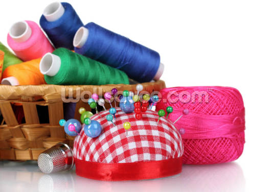 Bright Threads in Basket and Cushion for Needles Wallpaper Wall Murals