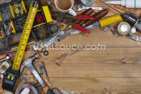 Untidy Workbench Wallpaper Wall Murals