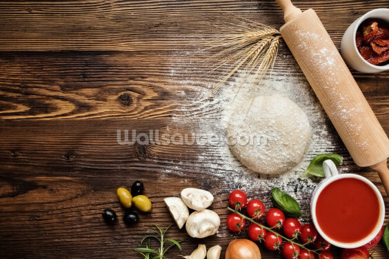 Pizza Dough with Ingredients Wallpaper Wall Murals