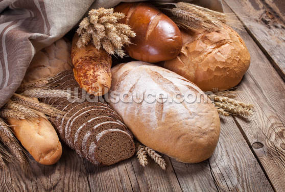 Bread On an Old Table Wallpaper Wall Murals