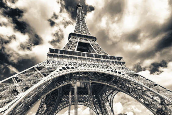 Cloudy Eiffel Tower Skies Wallpaper Wall Murals