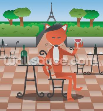 A Fox in Paris Wallpaper Wall Murals