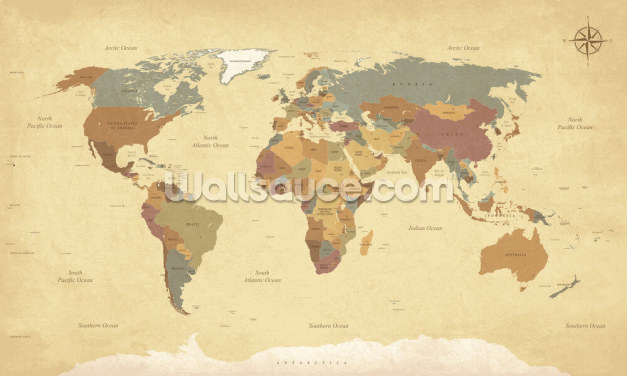 Textured Vintage World Map Wallpaper Wall Murals