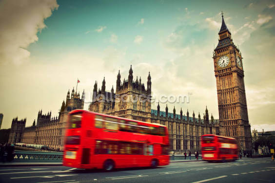 London Bus at Big Ben Wallpaper Wall Murals