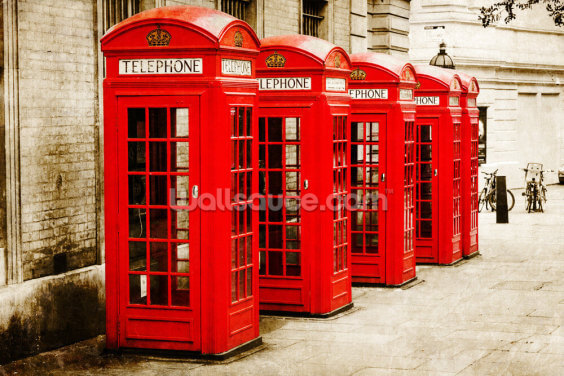 Red Telephone Boxes Wallpaper Wall Murals