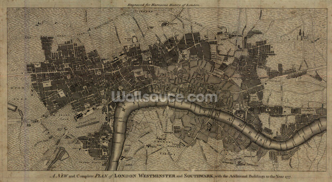 Old London Map Wallpaper Wall Murals