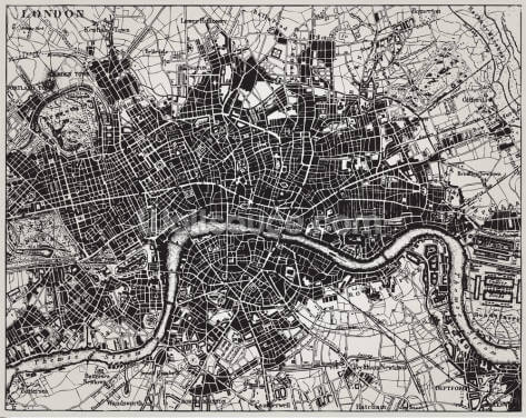 Historical Map of London Wallpaper Wall Murals