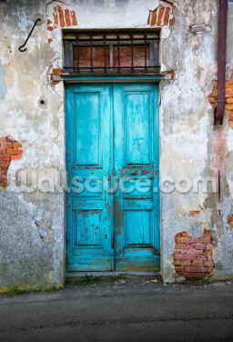Old Blue Wooden Door Wallpaper Wall Murals