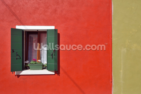 Red and Olive Green Facade Wallpaper Wall Murals