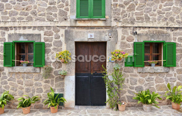 Village House with Green Shutters Wallpaper Wall Murals