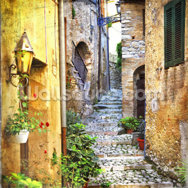 Mediterranean Old Town Street Wallpaper Wall Murals