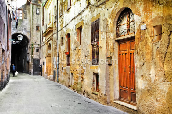 Village Street, Tuscany Wallpaper Wall Murals