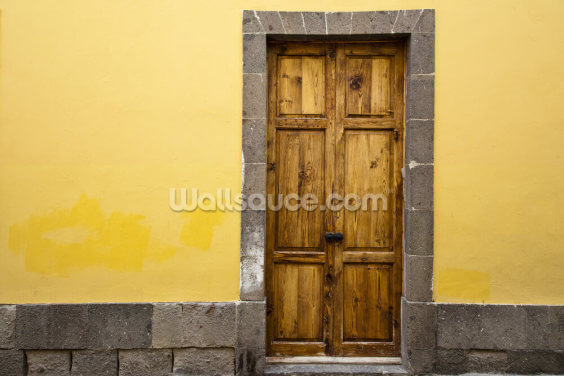 Wood and Yellow Wallpaper Wall Murals