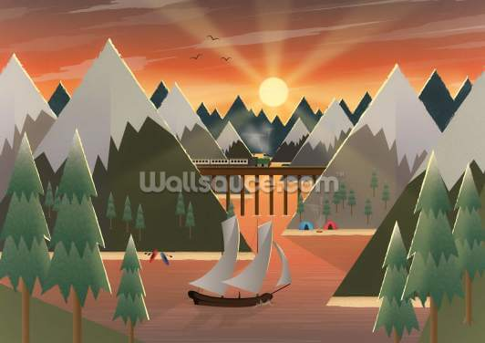 Sunset Lake Wallpaper Wall Murals