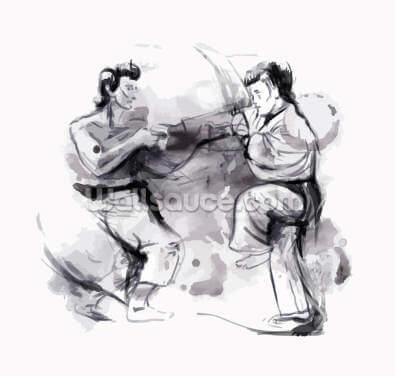 Karate Illustration Wallpaper Wall Murals