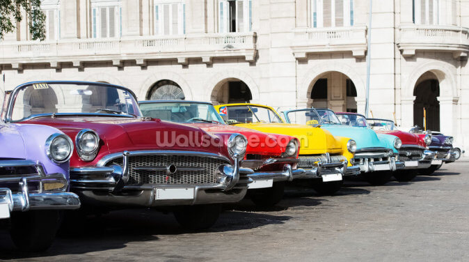 Colorful American Classic Cars Wallpaper Wall Murals