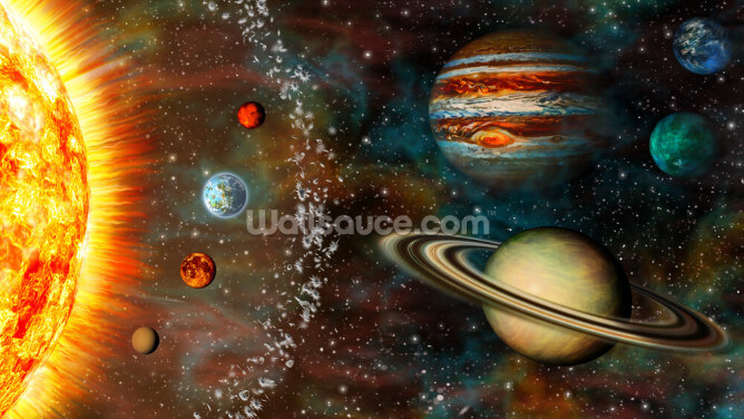 3D Widescreen Solar System Wallpaper Wall Murals