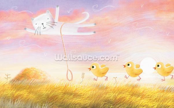 Cat Balloon Chickens Wallpaper Wall Murals