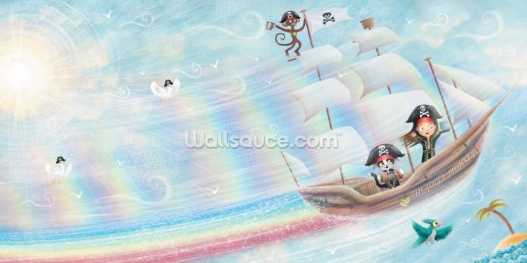 Flying Pirate Ship Wallpaper Wall Murals
