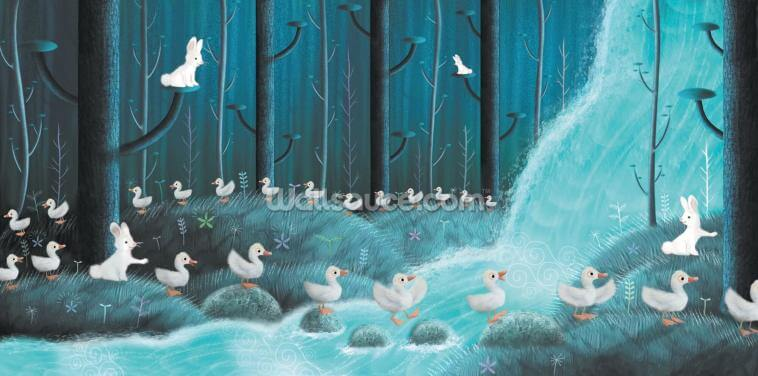 Rabbits And Ducks Wallpaper Wall Murals