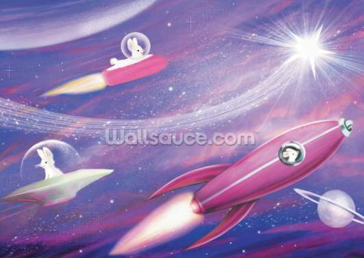 Rabbits Space Rocket Star Wallpaper Wall Murals