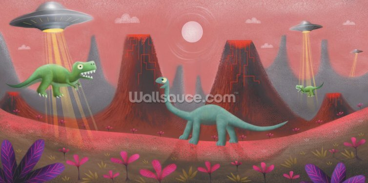 UFO and Dinos Wallpaper Wall Murals