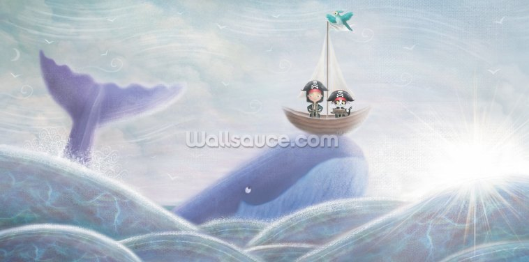 Whale And Pirate Cat Wallpaper Wall Murals