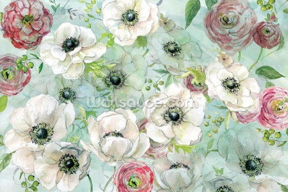 Anemonies and Ranunculus Wallpaper Wall Murals