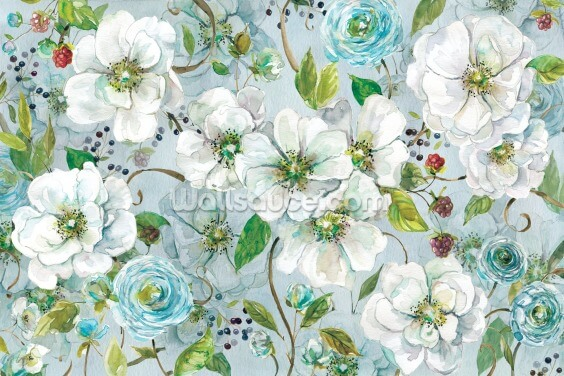 White Rose and Ranunculus Wallpaper Wall Murals