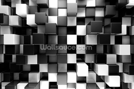 3D Black and White Blocks Wallpaper Wall Murals