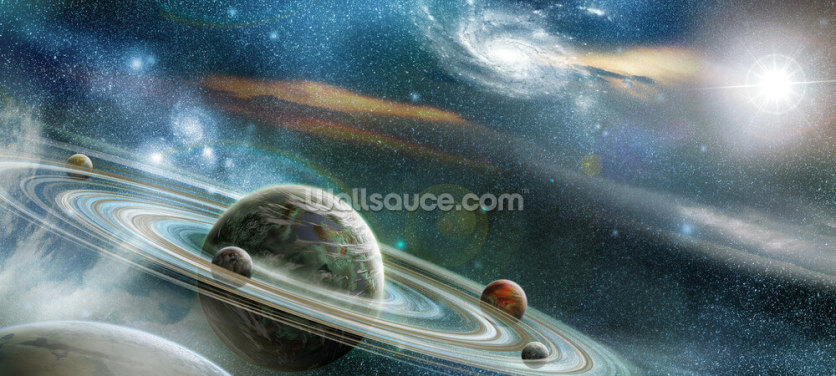 Planet with Numerous Prominent Ring System Wallpaper Wall Murals