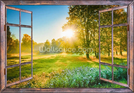 Sunrise Window View Wallpaper Wall Murals