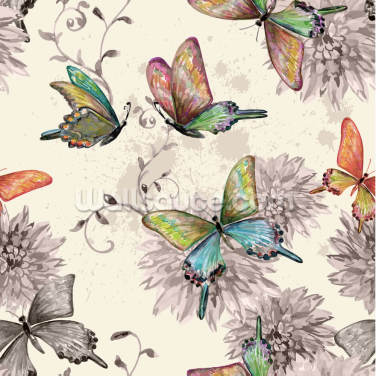 Vintage Flying Butterflies Wallpaper Wall Murals