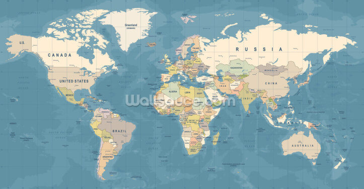 Map of the World Mural Wallpaper Wall Murals