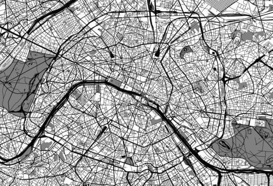 Map of Paris Wallpaper Wall Murals