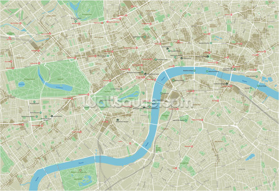 City Map of London Wallpaper Wall Murals