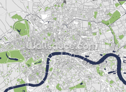 Illustration Map of London Wallpaper Wall Murals