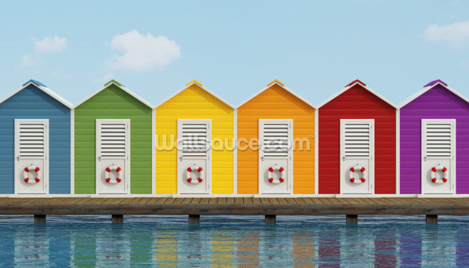 Beach Cabins on the Pier Wallpaper Wall Murals