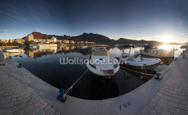 Puerto Pollensa Harbour Wallpaper Wall Murals