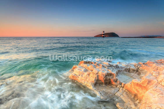 Penmon Lighthouse Sunset Wallpaper Wall Murals