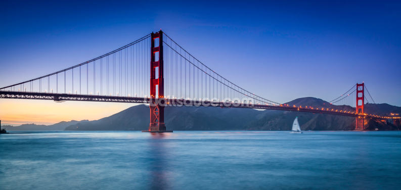 Golden Gate Sailboat Wallpaper Wall Murals