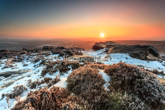 Stanage Edge Winter Sunburst Wallpaper Wall Murals
