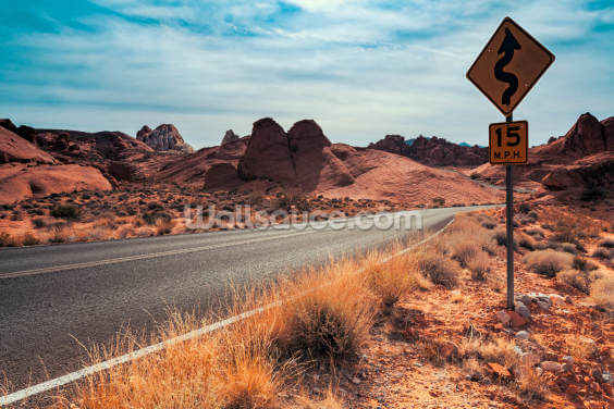 Valley of Fire Road Sign Wallpaper Wall Murals