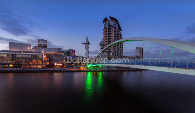 Salford Quays Lift Bridge Night Wallpaper Wall Murals