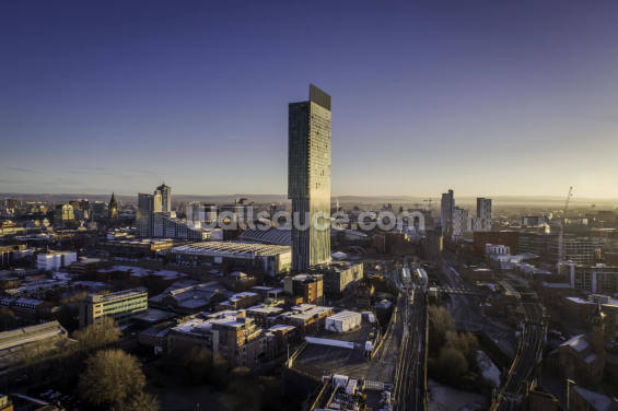 Manchester City Aerial Sunrise Wallpaper Wall Murals