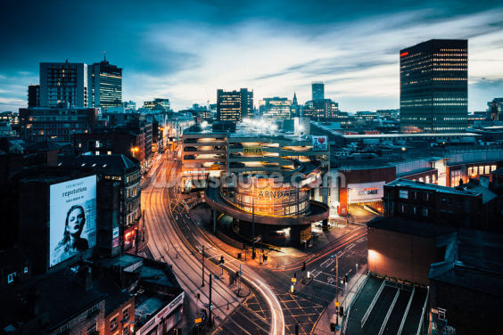 Manchester Skyline Night Wallpaper Wall Murals