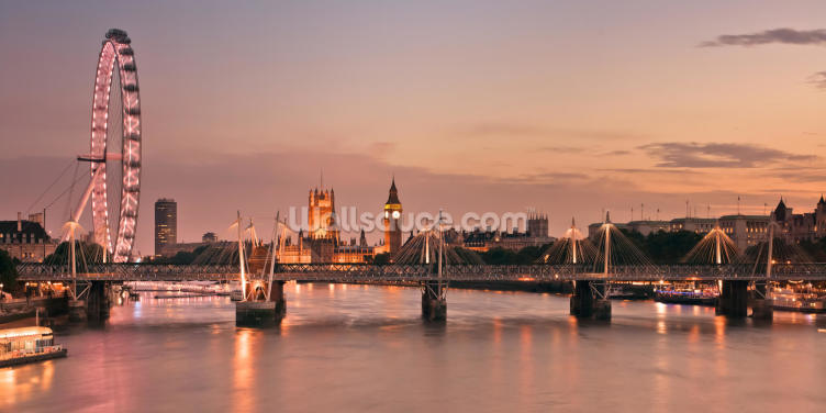 Waterloo Bridge and Houses of Parliament Wallpaper Wall Murals
