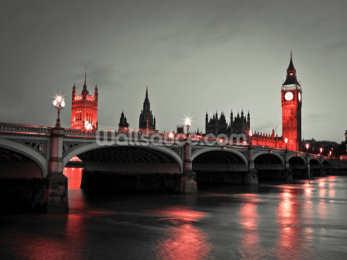 Westminster Bridge with Red Lights Wallpaper Wall Murals