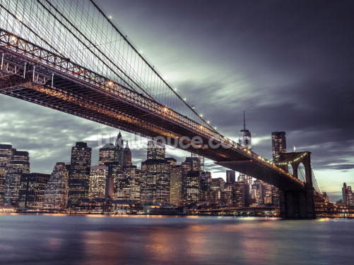 Brooklyn Bridge Manhattan at Night Wallpaper Wall Murals